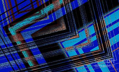 Bluish Geometric Design Print by Mario Perez