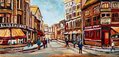 Quebec Painting - Blumenthals On Craig Street by Carole Spandau