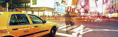 Times Square Photograph - Blurred Traffic In Times Square, New by Panoramic Images