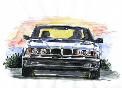 Bmw Painting - Bmw E32 by Ildus Galimzyanov