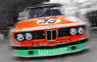 Bmw Front End Watercolor Print by Naxart Studio