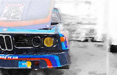 Old Mixed Media - Bmw Lamp And Grill Watercolor by Naxart Studio