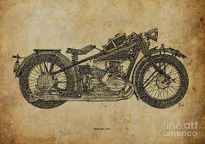 Motorcycle Drawing - Bmw R47 1927 by Pablo Franchi