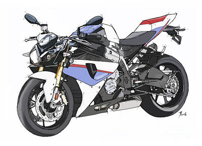 Bicycle Drawing - Bmw S 1000r 2013 by Pablo Franchi