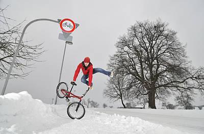 Bmx Flatland In The Snow - Monika Hinz Jumping Print by Matthias Hauser