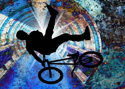 Bmx In A Grunge Tunnel Print by Elaine Plesser