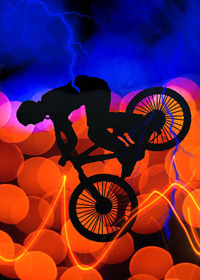 Bmx In Light Crystals And Lightning Print by Elaine Plesser