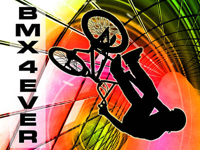Bmx In Lines And Circles Bmx 4 Ever Print by Elaine Plesser