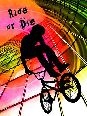 Bmx In Lines And Circles Ride Or Die Print by Elaine Plesser