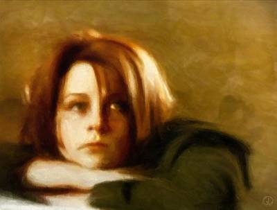 Woman Portrait Digital Art - Bonjour Tristesse by Gun Legler