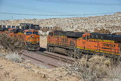 Bnsf 7303 And Bnsf 7454 Meet East Of Victorville Print by Jim Thompson