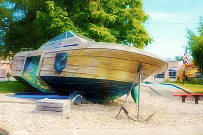 Sea Painting - Boat 2 by Lanjee Chee