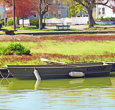 Boat At The Pond Print by Barbara McDevitt
