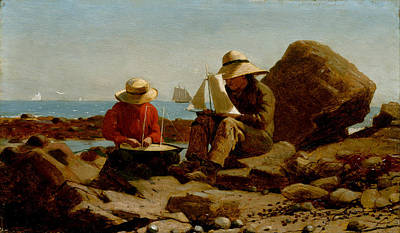 Beach Model Painting - Boat Builders by Philip Ralley
