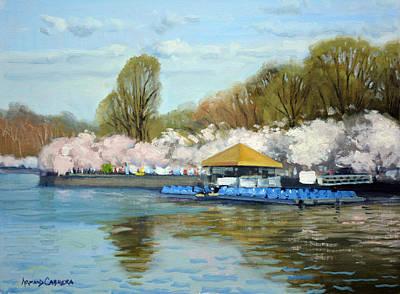 Tidal Basin Painting - Boat Dock Spring - Washington Dc by Armand Cabrera