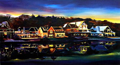 Boathouses Painting - Boat House Row by Kevin Brown
