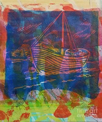 Boat In Blue Print by Cynthia Lagoudakis