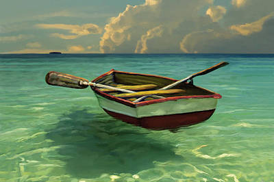 Oil Mixed Media - Boat In Clear Water by David  Van Hulst
