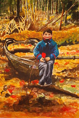 Joy Dinardo Bradley Dinardo Designs Painting - Boat In The Woods by Joy Bradley