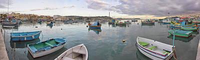 Marsaxlokk Photograph - Boat Moored At A Harbor, Marsaxlokk by Panoramic Images