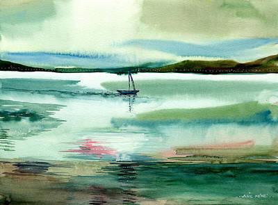 Boat N Creek Print by Anil Nene