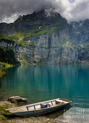 Boat On The Oeschinensee - Swiss Alps  Print by Gary Whitton