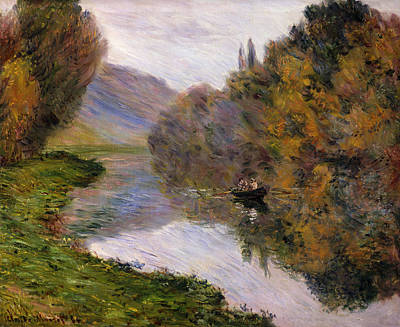 Calm Painting - Boat On The Seine Near Jeufosse by Claude Monet