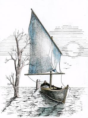Explore Drawing - Boat On The Water by Grant Mansel-James