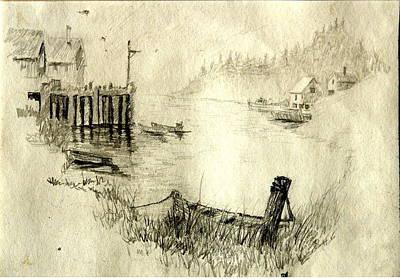Boat Pier Pencil Original by Joseph Hawkins
