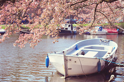 Boat Under Blooming Cherry Tree. Pink Spring In Amsterdam. Print by Jenny Rainbow