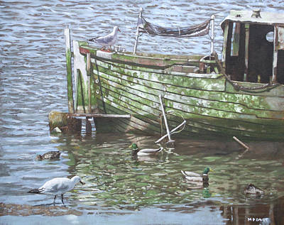 Waterfowl Painting - Boat Wreck With Sea Birds by Martin Davey