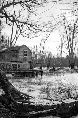 Boathouse In Winter Print by Allan Morrison