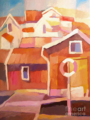 Boathouses Painting - Boathouse by Lutz Baar