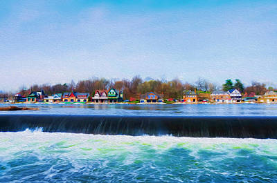 Boathouse Row With The Fairmount Dam Print by Bill Cannon