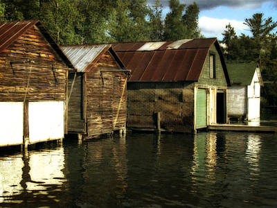 Elk Rapids Photograph - Boathouses On The River by Michelle Calkins