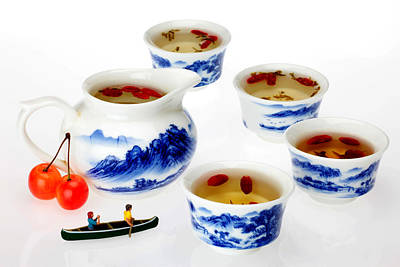 Boating Among China Tea Cups Little People On Food Print by Paul Ge