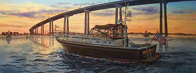 Hotel Del Coronado Painting - Boating At Sunset by John YATO