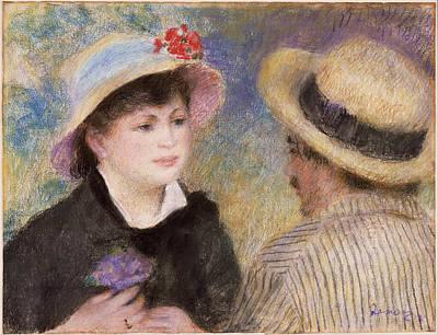 Pierre-auguste Renoir Painting - Boating Couple. Said To Be Aline Charigot And Renoir by Pierre-Auguste Renoir