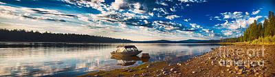 Boating Peacefully On Howard Prairie Lake Print by Omaste Witkowski