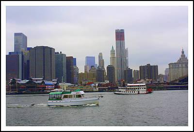 Boats And New York City Skyline Original by Dora Sofia Caputo Photographic Art and Design