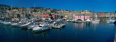 Genoa Photograph - Boats At A Harbor, Porto Antico, Genoa by Panoramic Images