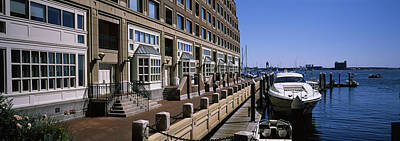 Boats At A Harbor, Rowes Wharf, Boston Print by Panoramic Images