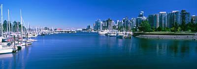 Boats At A Marina, Vancouver, British Print by Panoramic Images