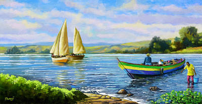 Africa Painting - Boats At Lake Victoria by Anthony Mwangi