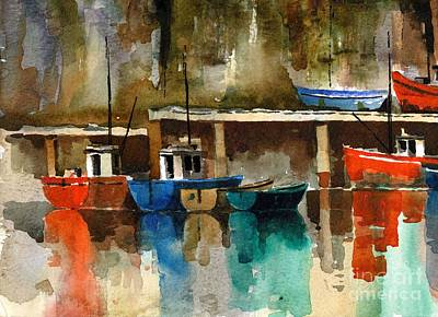 Boats At Rest  Dunmore East  Wateford Print by Val Byrne