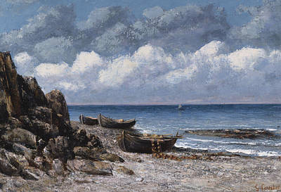 Boats At St Aubain Print by Gustave Courbet
