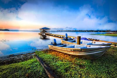 Boats At The Lake Print by Debra and Dave Vanderlaan