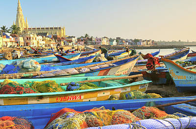 Net Photograph - Boats Being Readied For Fishing by Steve Roxbury