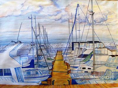 Boats Docked At Harbor Park  Print by Kenneth Michur