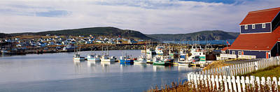 Boats In A Harbor, Bonavista Harbour Print by Panoramic Images